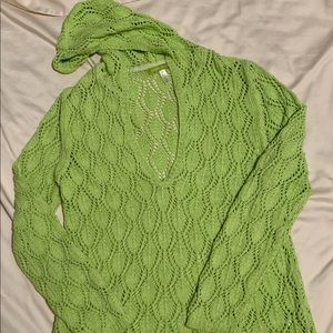 Sigred Olsen open weave lime green sweater SZ M.